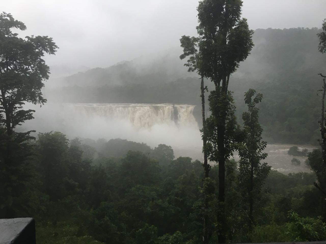 Athirapally waterfalls in Monsoon